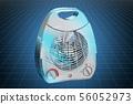 Visualization 3d cad model of fan heater 56052973