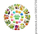 Organic vegetables and vitamin complex table 56053756