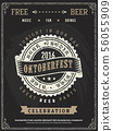Retro vector poster of beer party Oktoberfest.  56055909