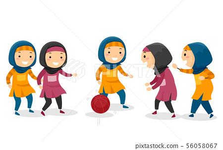 Stickman Kids Muslim Girls Basketball Game 56058067
