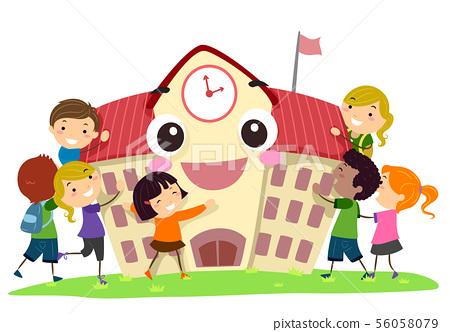 Stickman Kids School Mascot Hug Illustration 56058079