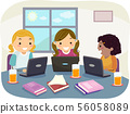 Stickman Kids Girl Group Study Laptop Illustration 56058089