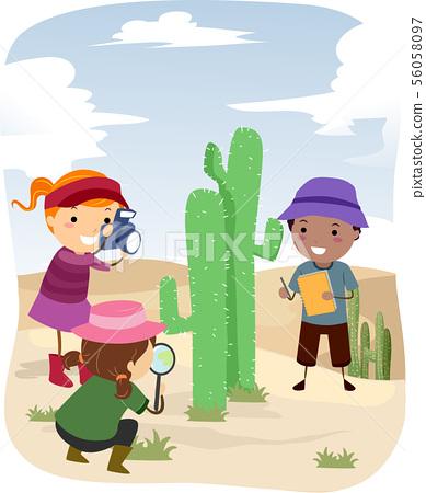 Stickman Kids Botanist Cactus Desert Illustration 56058097