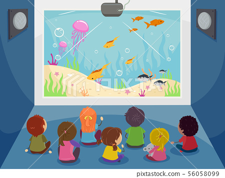 Stickman Kids Big Screen Underwater Illustration 56058099
