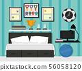 Sporty Bedroom Interior Illustration 56058120