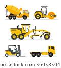 set of construction heavy machines. vehicles 56058504