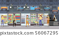 People shopping in supermarket interior with goods 56067295
