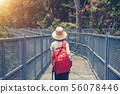 traveling backpacker walking on Canopy walkway at 56078446