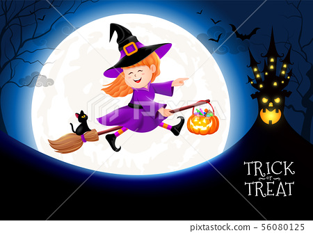 Flying little witch in moon nigh.  56080125