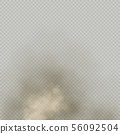 Effect beige dust or powder on transparent background. Dry soil explosion. Brown smoke particle 56092504