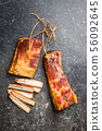Smoked meat. Tasty bacon. 56092645