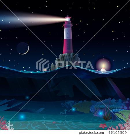 vector cartoon Lighthouse sea clipart 56105399