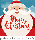 Merry Christmas vector card design with funny Christmas character. 56117524
