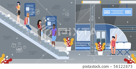 Subway Underground Station Escalator Flat Vector 56122873