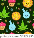 Cute kawaii marijuana weed seamless pattern 56122995
