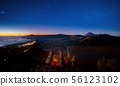 Star and Bromo mountain between night and sunrise 56123102