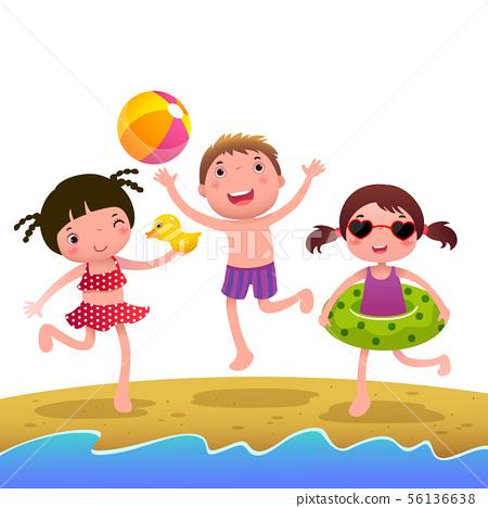 Children on the sunny beach 56136638