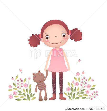 Little girl with her teddy bear 56136640