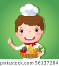 A smiling boy chef holding a basket of vegetables 56137284