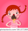 Cute girl eating icecream 56137288