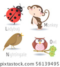 Alphabet with animals from L to O 56139495