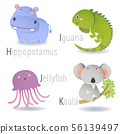 Alphabet with animals from H to K 56139497