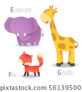 Alphabet with animals from E to G 56139500
