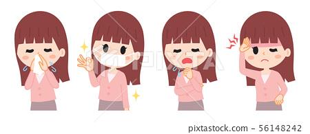 컨디션 불량 감기 여성 일러스트 세트 56148242