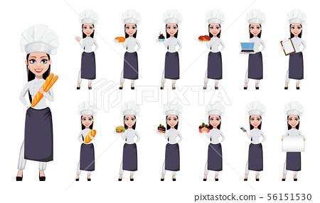 Beautiful baker woman in professional uniform 56151530
