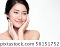 Beautiful Young Asian Woman with Clean Fresh Skin, 56151752