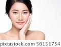 Beautiful Young Asian Woman with Clean Fresh Skin, 56151754
