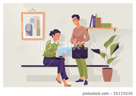Graphic designer pointing with finger on laptop computer during collaboration with caucasian 56155030