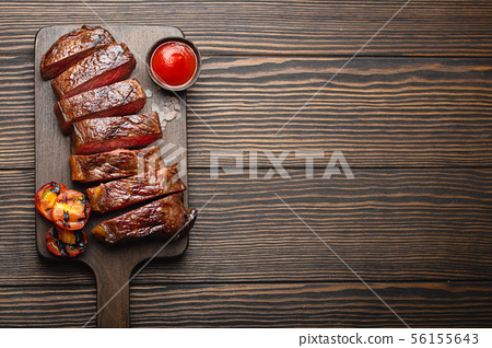 Grilled marbled meat steak 56155643