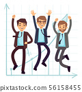 Happy jumping business man. Flat success in business concept design 56158455