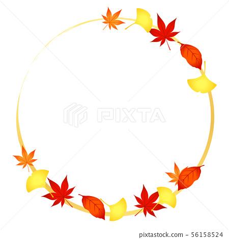 框架季節性材料銀杏和楓木圈 56158524