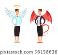 Businesswoman in angel and devil suit. Good and bad woman vector cartoon character 56158636
