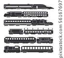 Trains and wagons black vector railway cargo and passenger transportation silhouettes 56167697