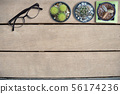 Mock up Glasses and cactus on wooden table 56174236