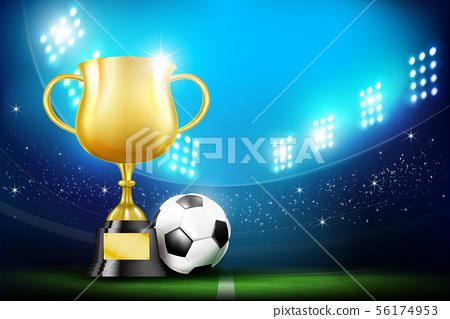 Golden trophy cups and Soccer ball football 56174953
