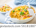 Baked pasta penne with broccoli smoked pork neck 56181887
