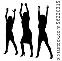 Women dancers group with raised hands up 56220315