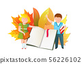 Schoolkids with open book flat vector illustration 56226102
