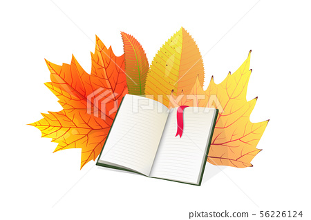Book and autumn leaves flat vector illustration 56226124
