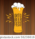 vector oktoberfest vector label with beer glass or beer mug isolated on wooden background 56236616