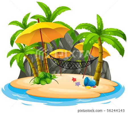 Island beach with hammock 56244143