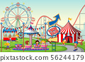 An outdoor funfair scene with kids 56244179