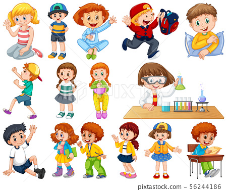 Kids in large group acting our varoous roles 56244186