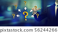 Big and small question marks with arrows with a businessman 56244266