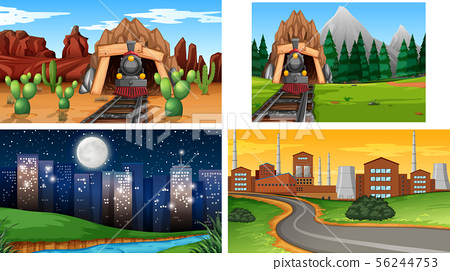 Set of outdoor nature scenes blank empty templates 56244753