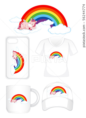Graphic design on different products with unicorn 56244774